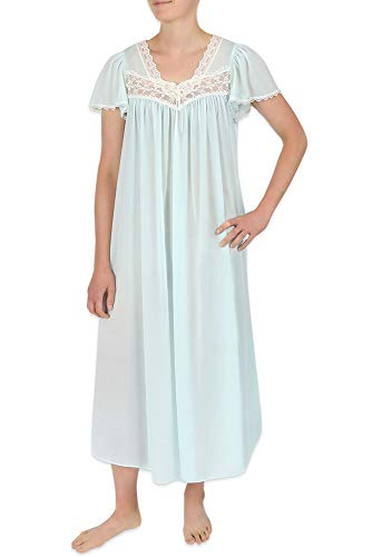 Miss Elaine Plus Size Nightgown - Long Silk & Sheer Nylon Gown with Flutter Sleeves Aqua