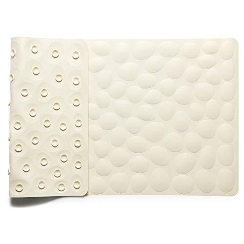 IRETION お風呂マット 浴槽 滑り止めマット 転倒防止 介護用品 ストーン柄 痛くない 吸盤付き 40×80cm 天然ゴム製 (ベージュ)