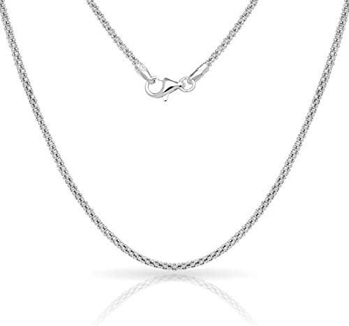 Verona Jewelers Sterling Silver 2 5MM Italian Diamond Cut Popcorn Coreana Chain Necklace 925 product image
