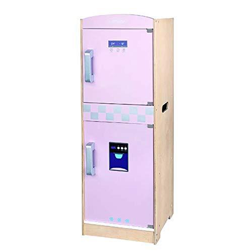 Nevera Madera Infantil Nevera de Juguete Grande Altura 85 Centimeter, Puertas funcionales Pink