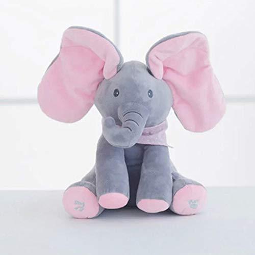 Wanxida Elefante de Peluche de Juguete, Música Elefante del Juguete de Felpa para Niño Jugar al Escondite Elefante Juguetes con 5 Color -Rosáceo Gris