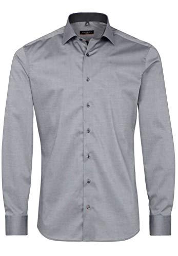 eterna Langarm Hemd Slim Fit Stretch Unifarben, Grau, W40 Langarm