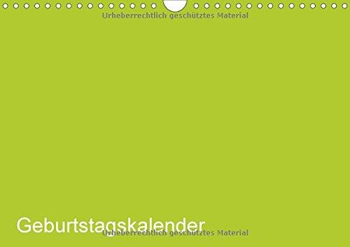 Bastel-Geburtstagskalender grün / Geburtstagskalender (Wandkalender 2018 DIN A4 quer): Der elegante Geburtstagskalender zum Selbst-Gestalten ... [Kalender] [Apr 01, 2017] ist gut, Kreativ