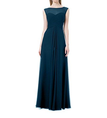 La_mia Brau Chiffon Langes Abendkleider Ballkleider Partykleider Formalkleider Brautjungfernkleider Etuikleider-32 Tinte Blau