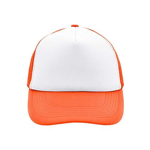 Trucker Mesh Baseball Cap in Polyester in Neon Orange