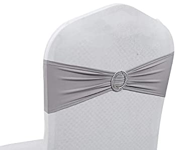 mds Pack of 100 Spandex Chair Sashes Bow sash Elastic Chair Bands Ties with Buckle for Wedding and Events Decoration Spandex Slider Sashes Bow - Silver Gray