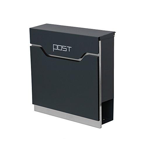 LZQ Modern Neu Design-Briefkasten Gebürstetes Edelstahl Postkasten mit Zeitungsfach, Anthrazit Postkasten, Wandbriefkasten Postkasten mit Zeitungsrolle (Modell Ⅱ, C)