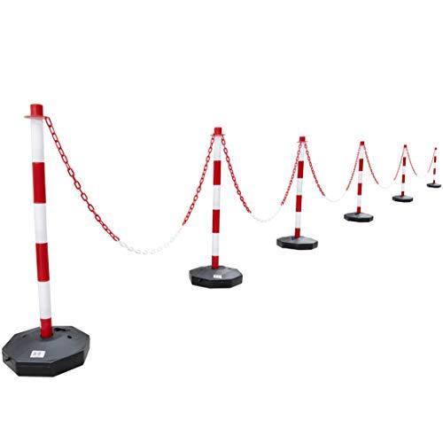 24 Stück Absperrpfosten + 25 Meter PVC Kette Weiss/Rot Signalpfosten Begrenzungpfosten Warnungkette (24)