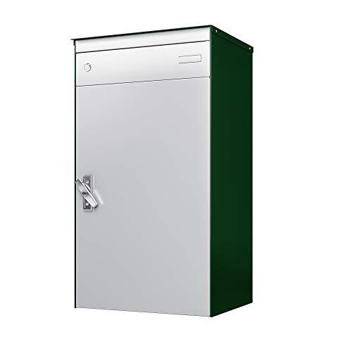sbox 17 Briefkasten, Briefkasten mit gesichertem Paketschliessfach, einfache Selbstmontage, Hochwertiges Aluminium, 440x800x340mm, Handgefertigt (Moosgrün (RAL 6005) & Weissaluminium (RAL 9006))