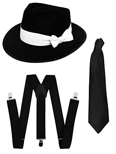 ILOVEFANCYDRESS Accessoires de luxe de gangster pour adulte avec un chapeau en feutre noir à bande blanche + des bretelles noires + une cravate noire. Idéal pour les enterrements de vie de garçon.