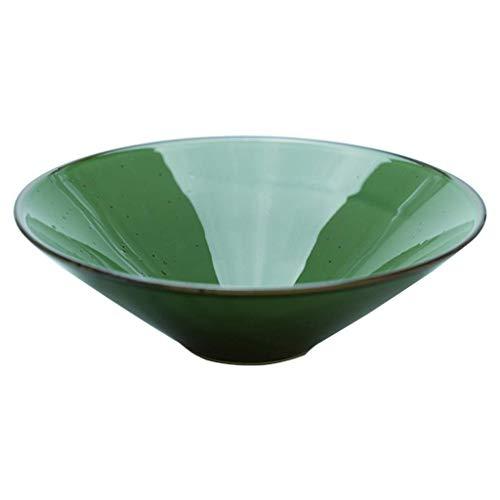 Ciotola Piatto Fondo Cereal Bowl piatto di frutta giapponese Ramen ciotola grande capacità Shallow Vintage Insalatiera casa Ice Cream Dessert ceramica Scodella, Verde, 24.5 * 24.5 * 7,5 centimetri Pin
