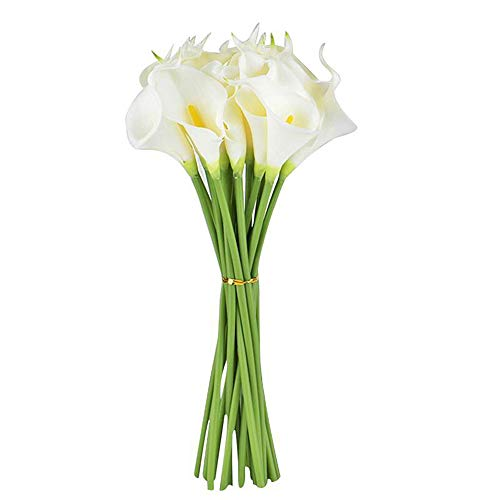 Ramo de flores artificiales de cala para decoración del hogar, boda, ramo de novia con tacto real,...