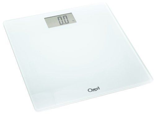 Ozeri Precision Digital Bath Scale 400 lbs Edition in Tempered Glass with Stepon Activation White Large