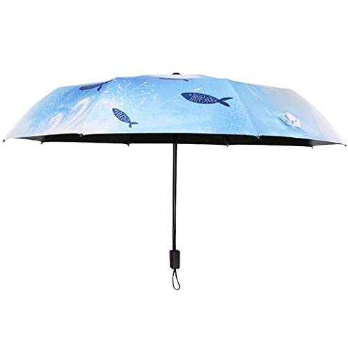 SBSNH La Protección Ultravioleta del Paraguas del Viaje del Acuerdo Compacto Plegable Triple, Las Señoras Imprimió El Paraguas Plegable
