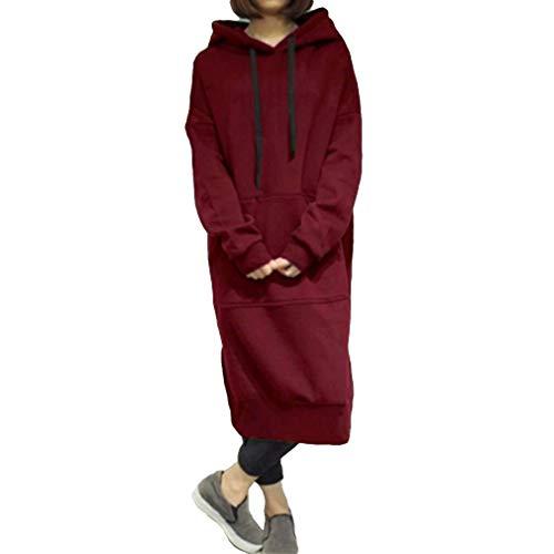HaiDean Sudadera con Capucha Extragrande Sudadera para Mujer con Modernas Casual Capucha Vestido Maxi Jersey Informal Jersey Largo Tops Largos Abrigo sobre Talla 42 54