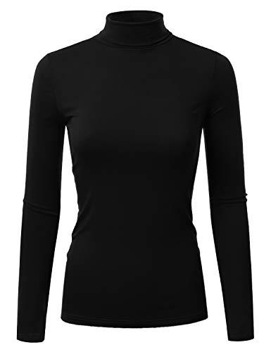 Doublju Soft Knit Turtleneck T-Shirt Top for Women with Plus Size Black X-Large