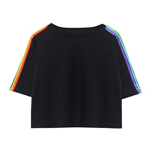 Rainbow printing T shirt Women Casual Summer Tshirts Cotton Womens tops Vintage Black White T-shirt Women-Black_M