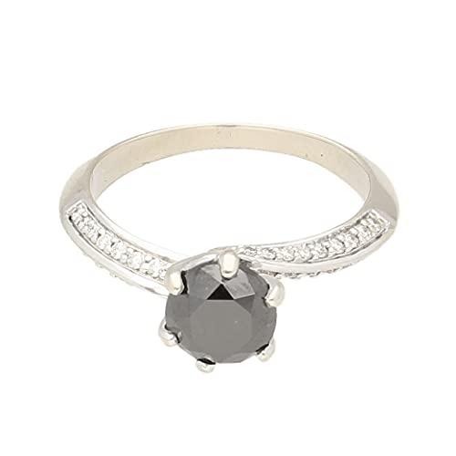 Anillo solitario de oro blanco de 18 quilates para mujer con diamantes negros de 1,20 tcw (talla K) | Anillo de lujo para mujer