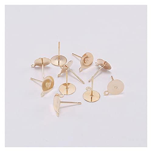 BOSAIYA PJ 200 unids/Lote 6-12 mm de Oro Pendiente Pendiente Base en Blanco Ajuste Cabochon Cameo Configuraciones Ear Post Pendiente para la fabricación de joyería de Bricolaje TL807