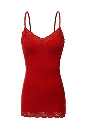 Price comparison product image ShezPretty Women's Adjustable Spaghetti Strap Lace Trim Cami Tunic Tank Top (Small,  Scarlet Red)