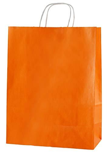 Thepaperbagstore 25 Papiertragetaschen, Recycelbar Und Wiederverwendbar, Mit Gedrehten Griffen - Wählen Sie Ihre Größe und Farbe (Mittel: 250 x 110 x 310mm, Orange)