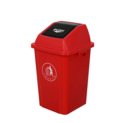 C-J-X TRASH CAN C-J-Xin Park Recycling Bins, Street School Müllbehälter Kunststoff Eindickung Dustbins Durable Entwurf for Terrasse, Garten Hohe Kapazität (Color : Red, Size : 41.5 * 41.5 * 69.5CM)
