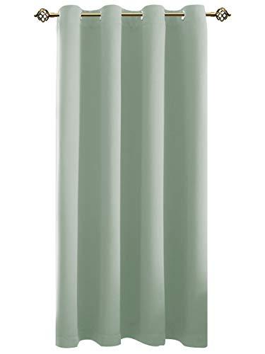 FLOWEROOM Blickdichte Gardinen mit Ösen Nilgrün Verdunkelungsvorhänge für Wohnzimmer/Schlafzimmer, Thermo-Lichtundurchlässige Energiespar Geräuschreduzierung Ösenschal, 1 Stück 175x140cm(HxB)