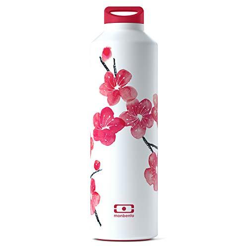 monbento - MB Steel Blossom Edelstahl Trinkflasche rot/rosa/weiß BPA frei - Thermosflasche 500 ml mit Infuser…