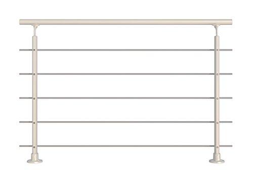 Modernes Geländer-Set in Weiß aus Aluminium mit Edelstahlrohren. Für aufgesetzte Montage. Länge 1500 mm (kürz- und verlängerbar). Als Treppengeländer, Brüstungsgeländer, Balkongeländer oder Terrassengeländer einsetzbar. Geeignet für den Innen- und Außenbereich.