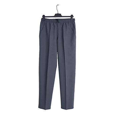 Pantalón Adaptado Hombre - Verano - Pantalon Vestir con Goma en la Cintura - Tallas Grandes (Gris, 4XL)