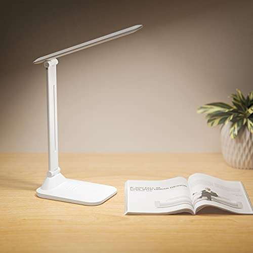 LED Desk Lamp, Touch Control Desk Lamp with 3 Levels Brightness, Dimmable Office Lamp with Adjustable Arm, Foldable Table Desk Lamp for Table Bedroom Bedside Office Study, 3500k-4500k-6000k, 7W