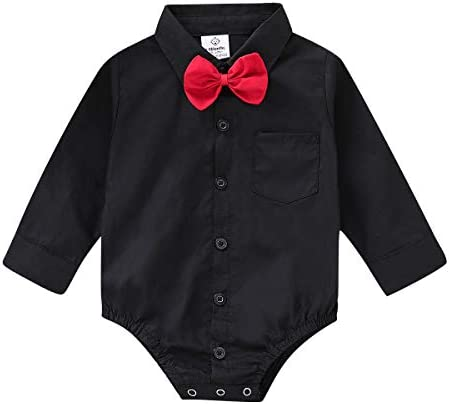 ROMPERINBOX Infant Baby Boys Dress Shirt Bodysuit Formal Long Sleeve Rompers for Wedding Party product image