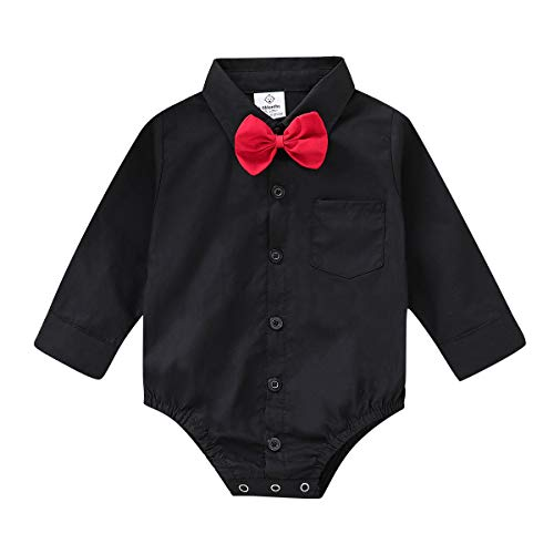 ROMPERINBOX Infant Baby Boys Dress Shirt Bodysuit Formal Long Sleeve Rompers for Wedding Party (Black, 0-3 Months)