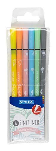 Stylex 32620 - Fineliner in zarten Pastellfarben, 6 Stück farbig sortiert im Etui, Strichstärke 0,4 mm, zum Schreiben und Skizzieren, für die Schule, im Büro oder Zuhause