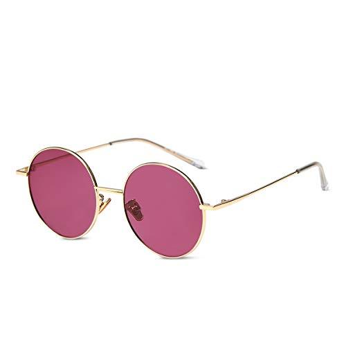 LumiSyne Retro Gafas De Sol Redondas Hombre Mujer Anteojos Lennon Steampunk Lentes De Color Polarizadas UV400 Ronda Marco De Metal Estilo Hippy Vintage(Rojo púrpura)