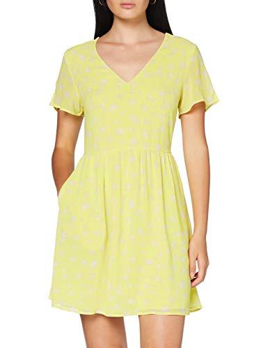 Calvin Klein V-Neck Chiffon Dress Vestido, Amarillo (Yellow