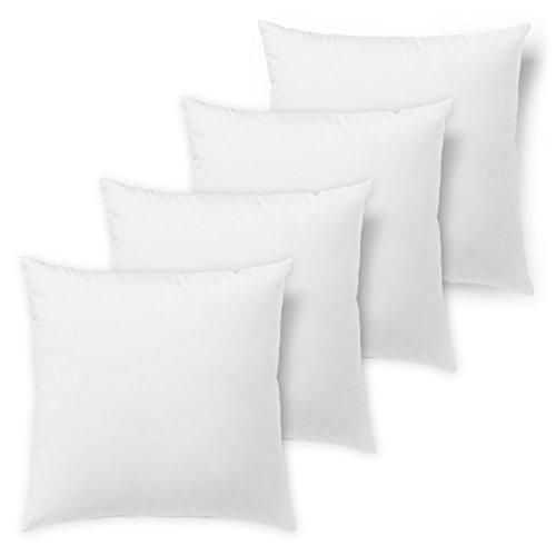 Traumnacht 4er Set Sofakissen, mit Federfüllung Baumwolle, 40 x 40 cm, weiß