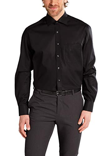 Herren Hemd Modern Fit Langarm, schwarz,45