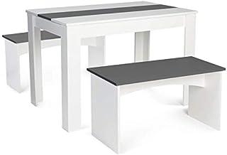 IDMarket - Ensemble Table à Manger 110 cm et 2 bancs ROZY 4 Personnes Blanc et Gris