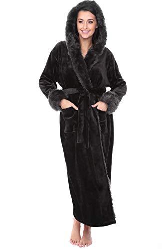 Alexander Del Rossa Women's Warm Fleece Robe with Hood, Long Plush Bathrobe, 3X 4X Black with Faux Fur (A0296BLK4X)