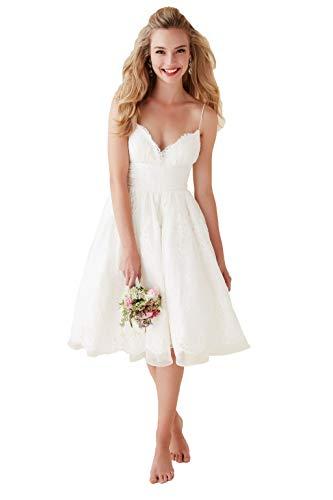 NUOJIA Damen V-Ausschnitt Spitze Brautkleider Hochzeitskleider Kurz Standesamt Boho Strand Elfenbein 40