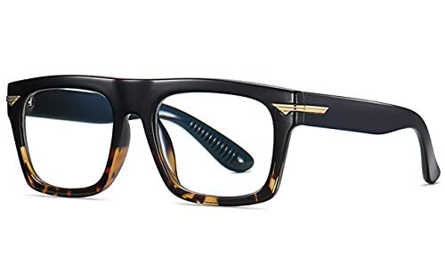 HAOMAO Tr90 Gafas cuadradas con bloqueo de luz azul para mujer, con lentes transparentes, montura de leopardo negro