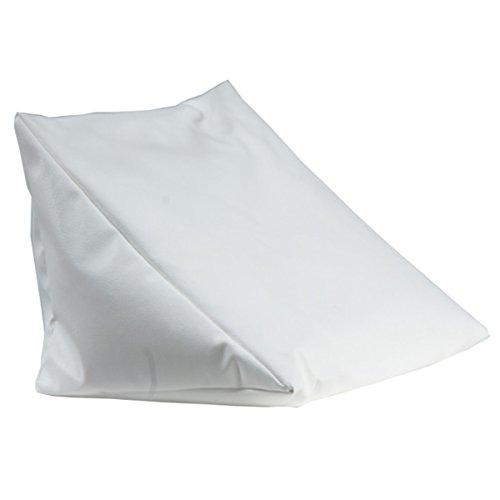 Lesekissen weiß Rückenstütze aus Kunstleder für Bett; Couch, Fernsehen, Rückenkissen für bequemes sitzen, Keil- Nackenkissen mit Schaumstoffflocken