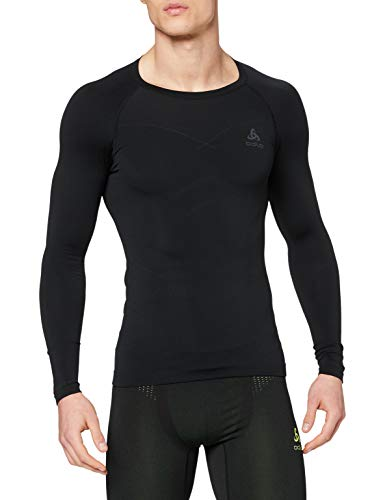 Odlo Evolution Warm Shirt L/s Crew Neck Top à Manches Longues Homme, Multicolore (Black/Graphite Grey 60056), Medium