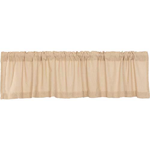 VHC Brands Burlap Window Valance Farmhouse Cotton Topper for Living Room, Kitchen Curtain, 16x72, Beige
