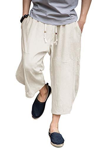 FASKUNOIE Men's Patchwork Shorts Harem Capri Pants Relax Fit Short Pants for Big and Tall Beige