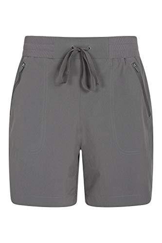 Mountain Warehouse Explorer pantalón Corto Mujer - Pantalones Cortos con Bolsillos de Cremallera, pantalón con cordón, Ligeros - para el Exterior, Caminatas, Invierno Gris Oscuro 38