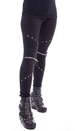 Vixxsin Punk Gothic Wind Zipper Nieten Stretchy Long Leggings Hosen - Schwarz (XL - DE 40-16)