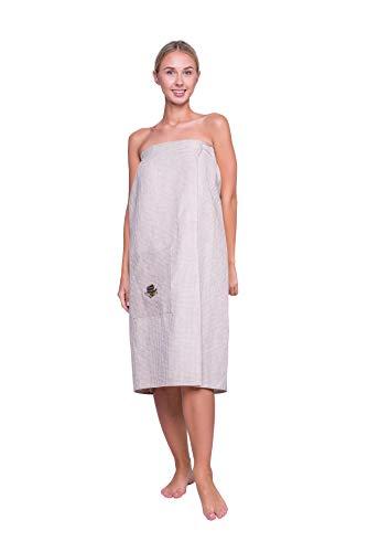 Ger3as saunakilt voor sneldrogende, badstof saunahanddoek met elastiek en klittenbandsluiting, 75% linnen en 25% katoenen doek, wellness handdoeken sneldrogend