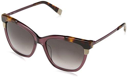 Furla Eyewear Damen N/A Sonnenbrille, Mehrfarbig (Shiny Transparent Plum Purple), 55